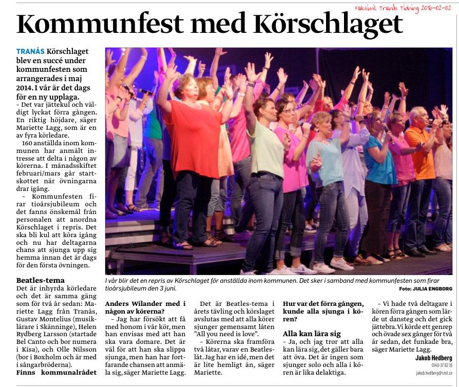Faksimil från Tranås Tidning 2016-02-02